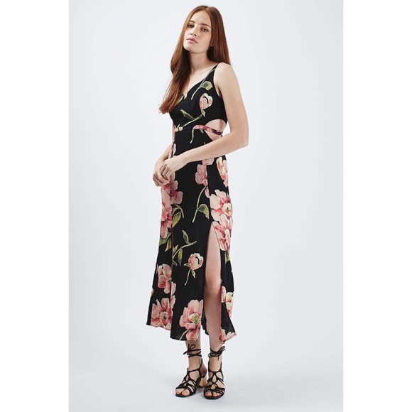 exceptional range of styles diversified latest designs wholesale Topshop Floral Cut-Out Maxi Dress